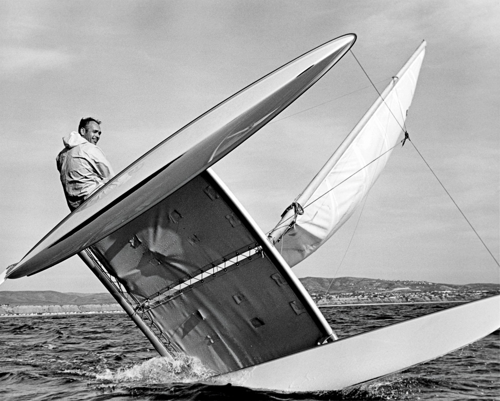 Wayne Schafer in the early days of Hobie Cat development in Capo Beach. Photo: R. Paul Allen