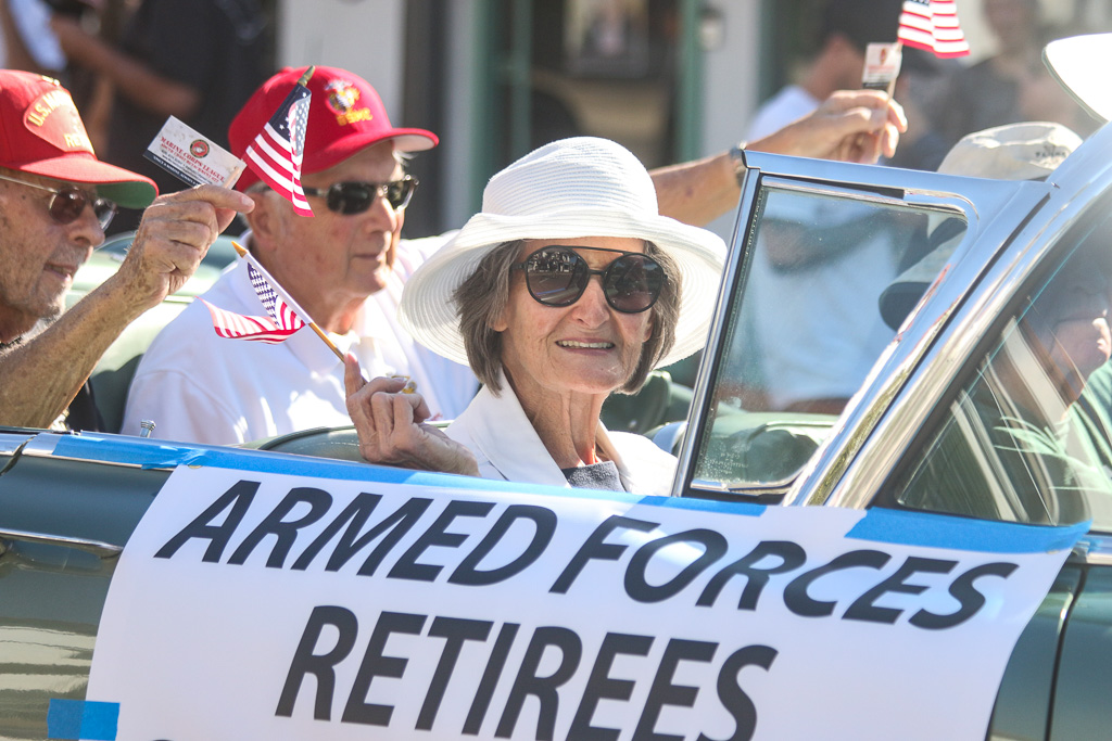 Various military and Marine support organizations joined in the Nov. 9 parade on Avenida Del Mar. Photo: Eric Heinz