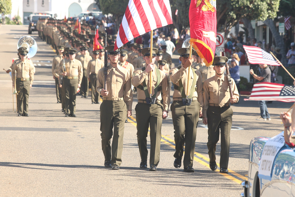 Soldiers of the 2nd Battalion, 4th Marines parade down Avenida Del Mar toward Park Semper Fi on Friday, Nov. 9. Photo: Eric Heinz