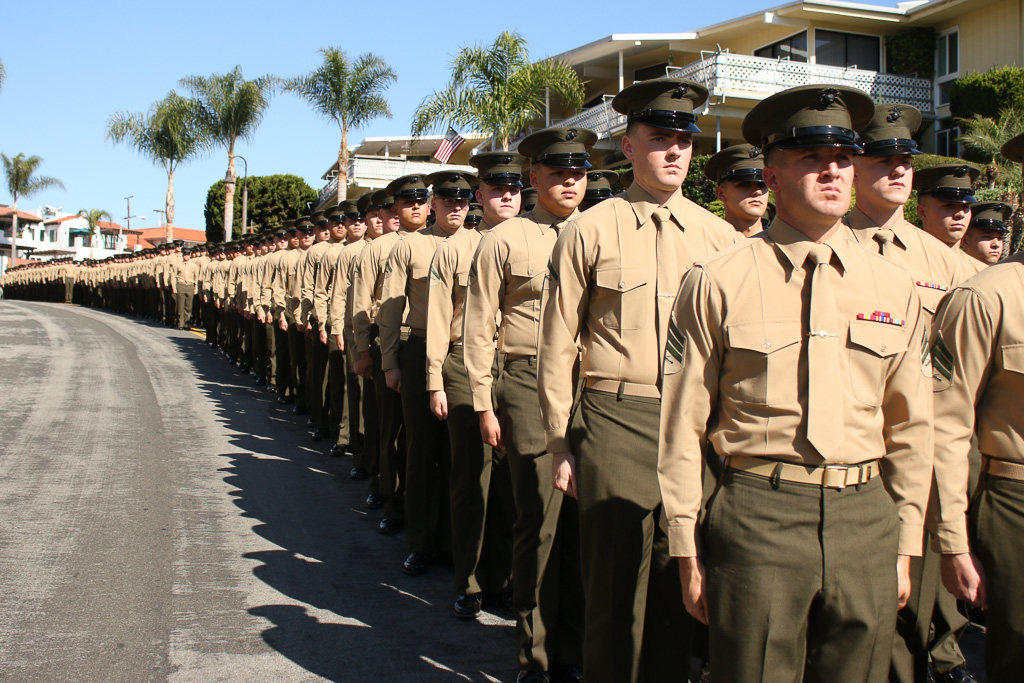 Soldiers of the 2nd Battalion, 4th Marines parade down Avenida Victoria toward Park Semper Fi on Friday, Nov. 9. Photo: Eric Heinz