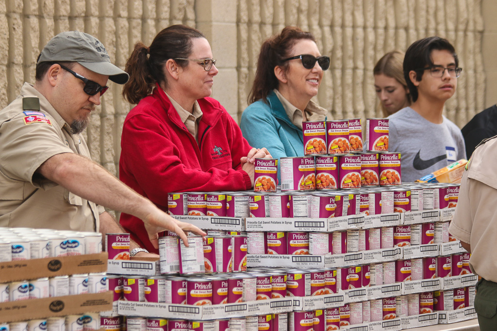 Thousands of canned goods were distributed to Marines and their families during the San Clemente Military Family Outreach giveaway on Monday, Nov. 19, at Camp Pendleton. Photo: Eric Heinz