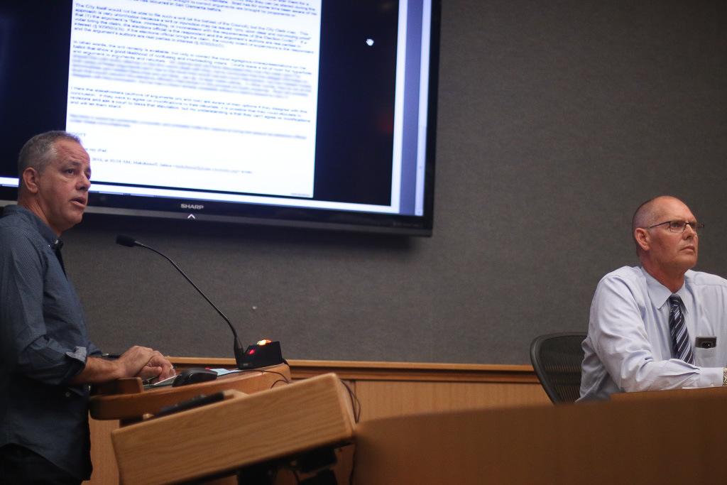 San Clemente resident Jim Bieber, left, scolds city councilmembers and City Manager James Makshanoff, right, during the San Clemente City Council meeting on Tuesday, Nov. 20. Bieber has had grievances with the current administration and elected officials since at least late 2015. Photo: Eric Heinz