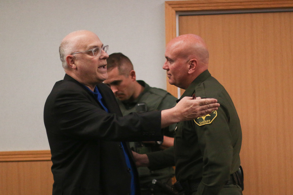 Mayor Tim Brown had Local attorney Brad Malamud, left, removed from the Council Chambers after an outburst (let back in to speak later) during the city council meeting on Tuesday, Nov. 20. Photo: Eric Heinz