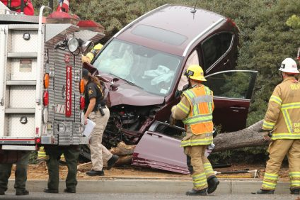 A maroon minivan apparently collided with a tree and other roadside fixtures on Monday, Dec. 10, on the 600 block of Camino de los Mares. Photo: Eric Heinz