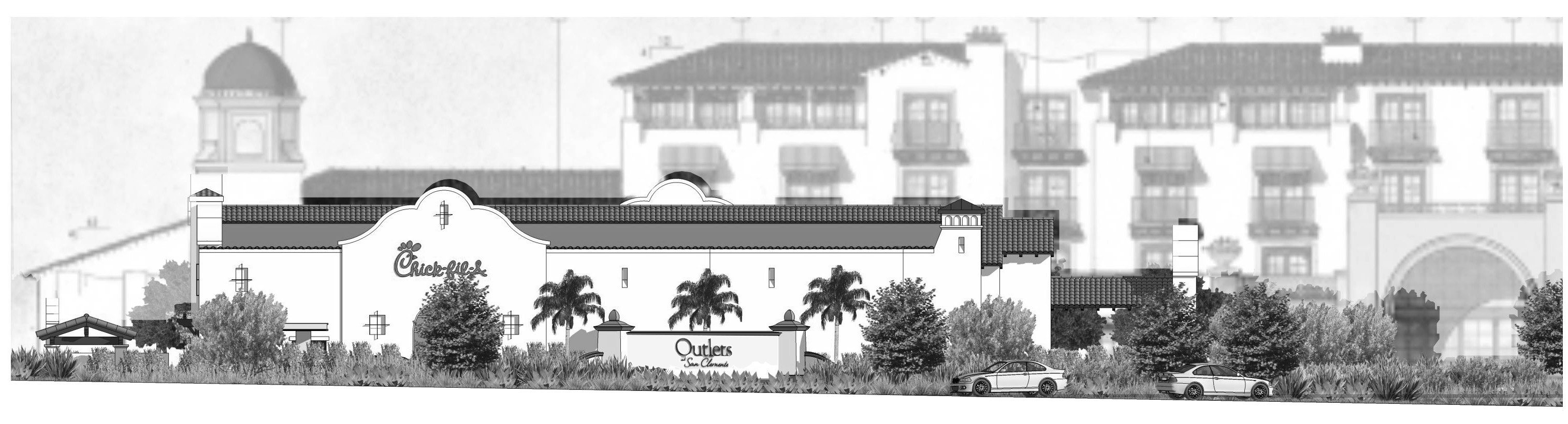 This rendering, presented at a Planning Commission meeting in December, shows a San Clemente Chick-fil-A restaurant, as viewed from the southbound Avenida Vista Hermosa off-ramp. Photo: Courtesy of the city of San Clemente