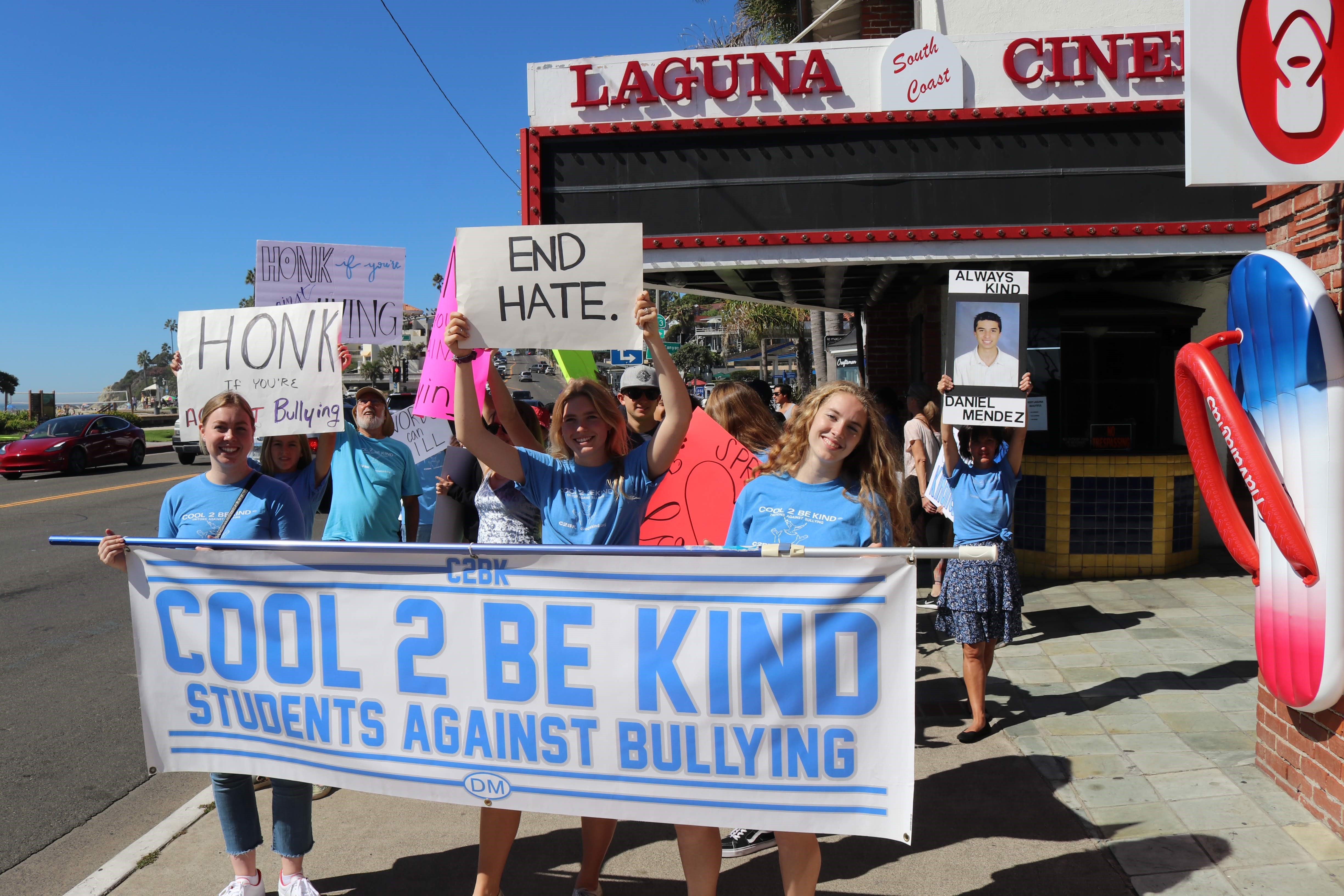 Cool 2 Be Kind organizers march last year in Laguna Beach. This year, the club will host the first People's March Against Bullying at 11 a.m. on Feb. 2 at the San Clemente Community Center lawn. Photo: Courtesy of Cool 2 Be Kind/Autumn Ferguson