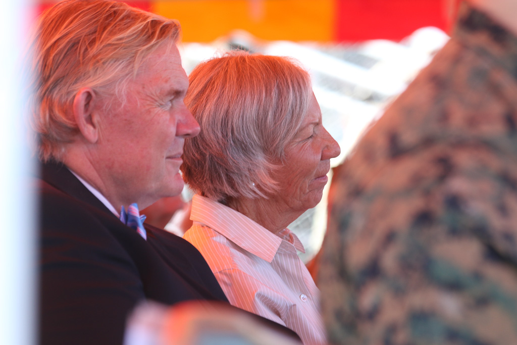 Jim and Carla Hogan of the San Clemente Marine Corps Support Group attended the change of command ceremony on Jan. 25 at Camp Pendleton. Photo: Eric Heinz