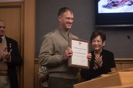 Lt. Col. Warren Cook receives a recognition from the city of San Clemente on Tuesday, Jan. 15. Photo: Eric Heinz
