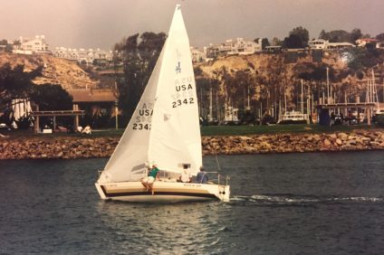 Tim and Emmett Hines sailing the Island Breeze in less-harrowing conditions. Photo: Hines Family
