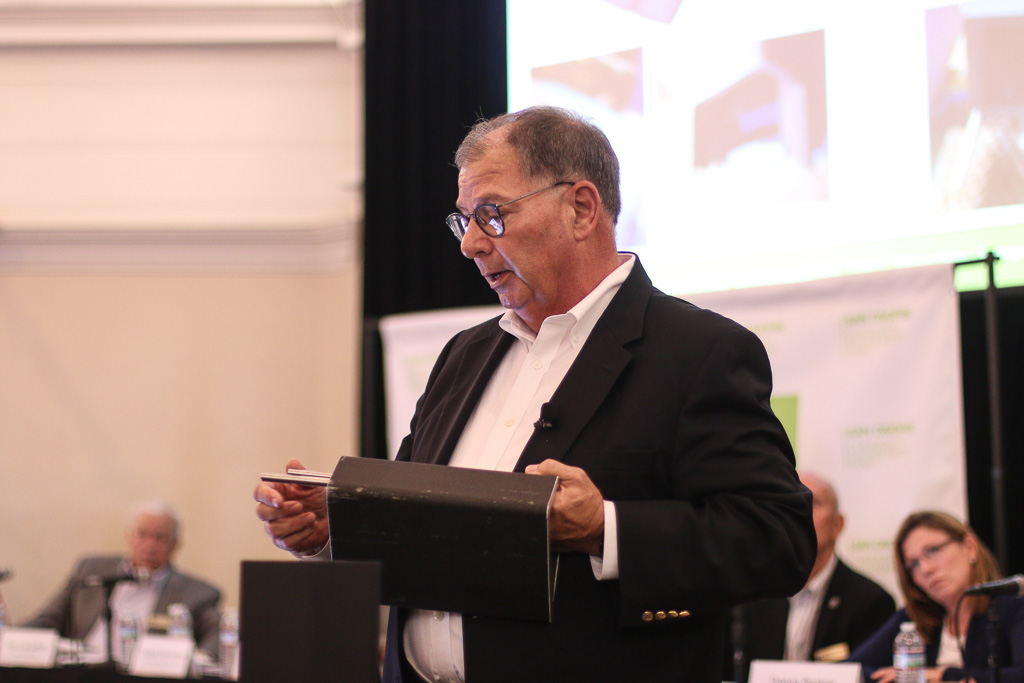 """Tom Palmisano, vice president of decommissioning and chief nuclear officer of Southern California Edison, explains the """"shims"""" of a Holtec spent nuclear fuel canister during the June 27 Community Engagement Panel meeting in San Clemente. Photo: File"""