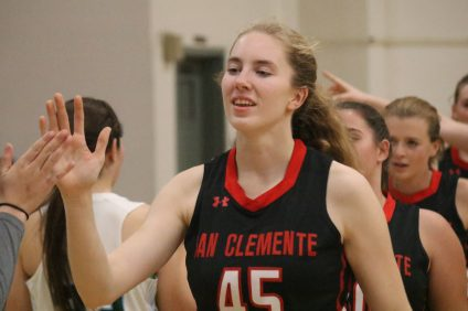 : San Clemente junior Ella Gardiner became the eighth player in the school's girls basketball history to score 1,000 career points as the Tritons beat Tesoro, 50-25, on Tuesday, Jan. 15. Photo: Zach Cavanagh