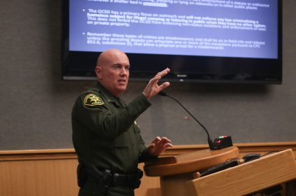 San Clemente Police Services Chief Lt. Mike Peters speaks to the city council on Feb. 5 about problems that arise in trying address homeless issues. Photo: Eric Heinz