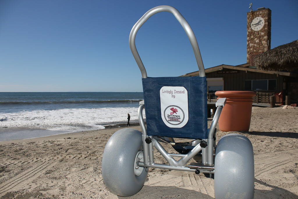 San Clemente Woman's Club donates beach wheelchair to Marine Safety Division. Photo: Eric Heinz