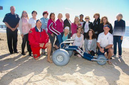 San Clemente Woman's Club donates beach wheelchair to Marine Safety Division. Photo: Eric Heinz