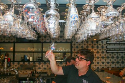 Brussels Bistro serves only Belgian libations, served in traditional glasses. Photo: Eric Heinz