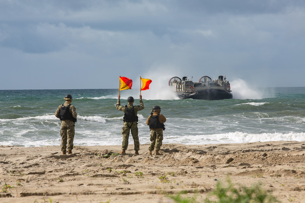 U.S. Marines and Sailors, and Japan Ground Self-Defense Force Soldiers perform amphibious landing exercise during Iron Fist 2019