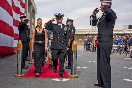 The Navy returns Command Master Chief Jason Gardner to his wife and children following a Naval Special Warfare ceremony held March 1 for the decorated Navy SEAL in San Diego. Photo: Courtesy of U.S. Navy