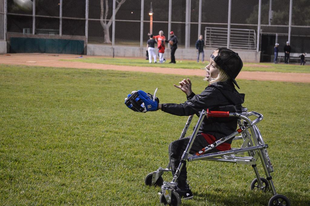 Cru Mercuro catches a ball at a recent Little League Challenger Photo: Andrea Clemett