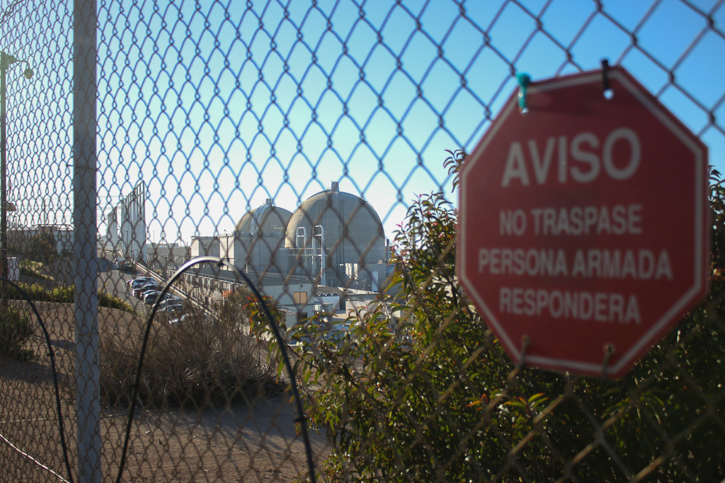 San Onofre Nuclear Generating Station (SONGS) seen from outside the security fence on March 18. Photo: Eric Heinz