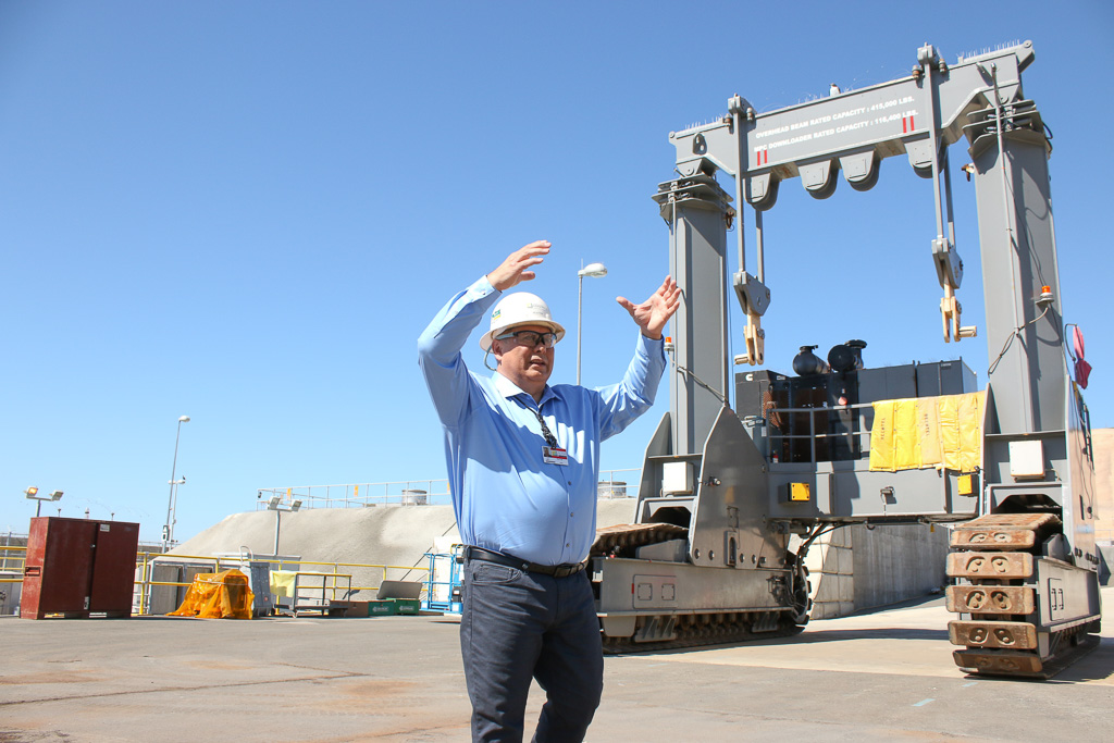 Edison maintenance support services manager James Peattie explains the functions of the downloading crane used to store spent nuclear fuel at SONGS on March 18. Photo: Eric Heinz
