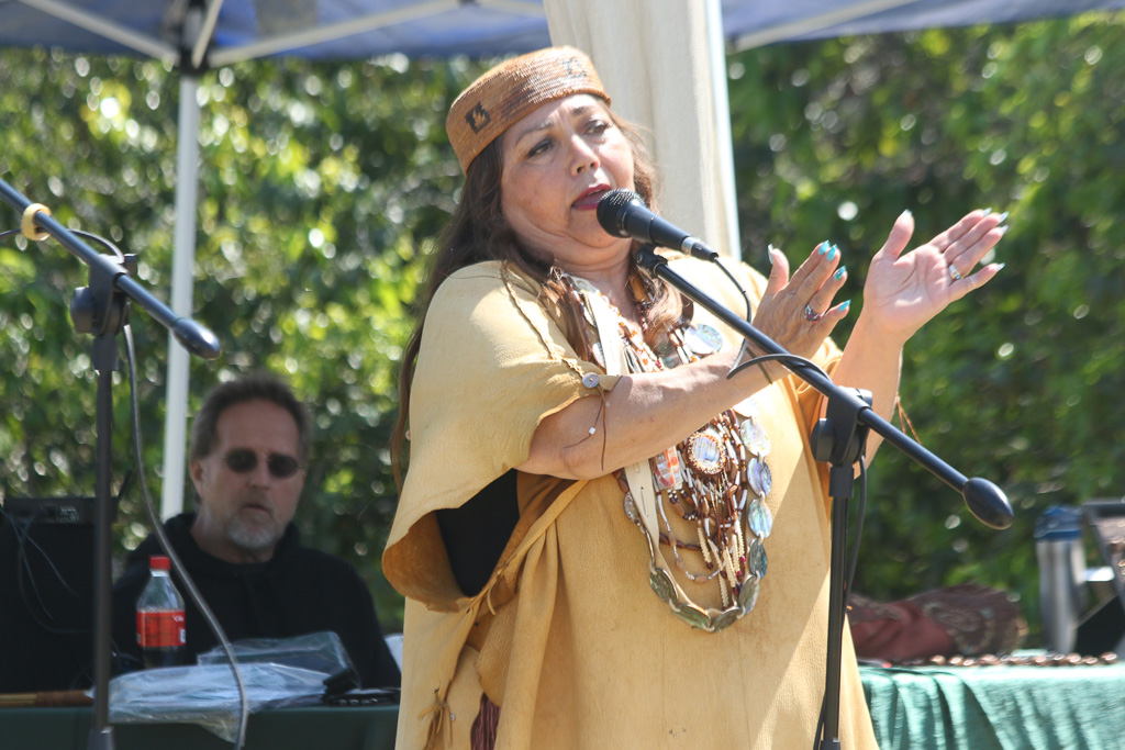 Rebecca Robles is a board member of San Onofre Parks Foundation, was the festival master of ceremonies as a direct descendant of the Acjachemen Nation on March 24 at Panhe.