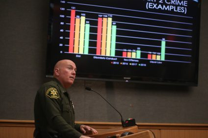 Chief of San Clemente Police Services Lt. Mike Peters discusses the city's crime stats from last few years during the city council meeting on Tuesday, Feb. 5. Photo: Eric Heinz