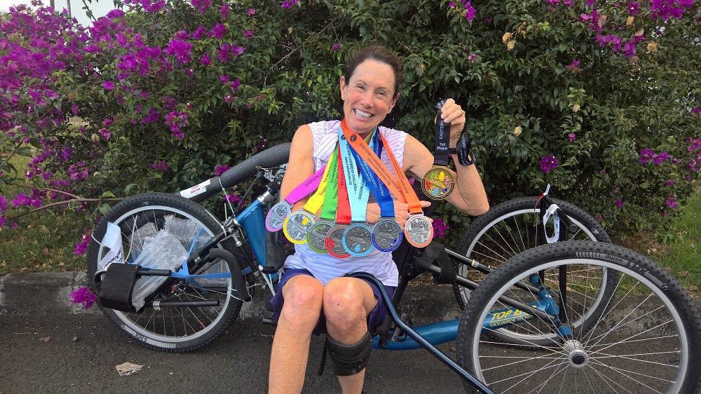 San Clemente resident Beth Sanden completed the Eastern Caribbean Challenge with handcycle marathons on six Caribbean islands and a cruise ship last week. Photo: Beth Sanden