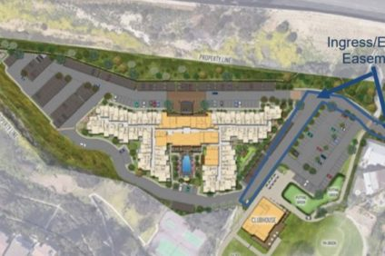 A bird's-eye rendering of the plans for a new 150-unit senior living complex to be built at the Shorecliffs driving range and clubhouse. Photo: City of San Clemente