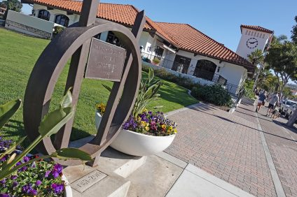 What could the city find if it decides to unearth the monument labeled 1969-2019 near the San Clemente Library? Photo: Fred Swegles