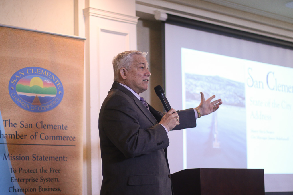 Mayor Steve Swartz delivers the annual State of the City on March 29 at Bella Collina. Photo: Eric Heinz