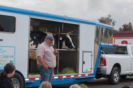 Students at San Onofre School listen to a presentation about dairy cows on Thursday, April 4, at the school's Camp Pendleton campus. Photo: Zara Flores