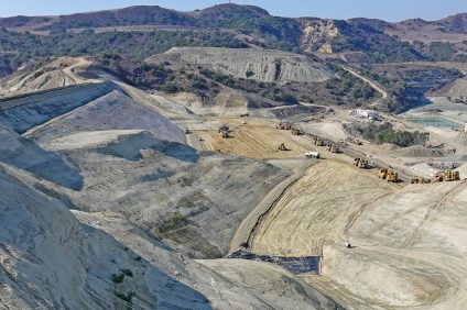 The rugged site for Trampas Canyon Reservoir is situated beside a commercial sand-mining facility between San Clemente's Talega community and Ortega Highway. Photo: Fred Swegles