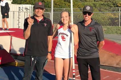 San Clemente sophomore Sierra Adams set the SCHS girls pole vault record on March 21. Photo: Leila Adams