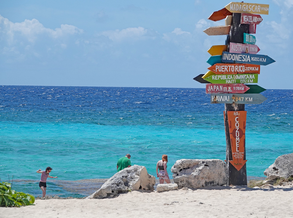 Playa San Clemente isn't listed on the kilometer sign post at Punta Sur, Cozumel. San Clemente's namesake Cozumel beach only rarely appears on maps of the island, and no one asked during the author's recent visit seemed to have heard of it. Photo: Fred Swegles