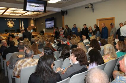 Residents crowd into San Clemente City Council on May 21 to participate in discussions on homeless shelter options in the city, and how council will fill the Mayor's empty seat. Photo: Cari Hachmann