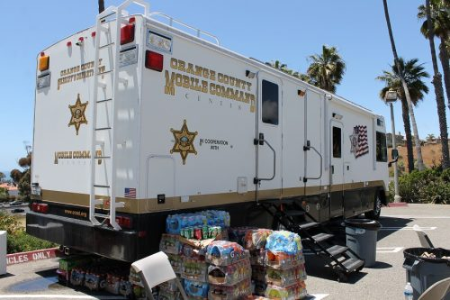 An OCSD mobile command post is parked outside the San Clemente Station to assist deputies in their duties. Photo: Cari Hachmann