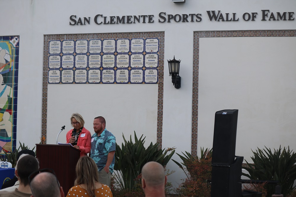 Sara and Trevor Nealy, wife and son of the late Bob Nealy, San Clemente Sports Wall of Fame inductee. Photo: Zach Cavanagh