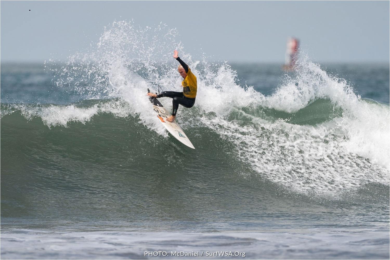 Grom of the Week, Rex Hennings, taking the top off of one in Oceanside. Photo credit: Aaron Hennings