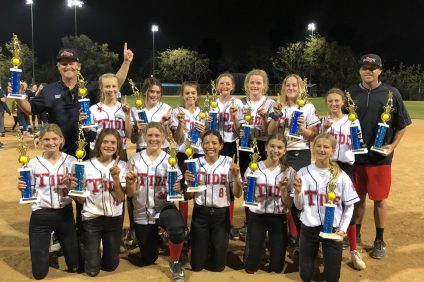 The San Clemente Tide 14U softball team took first place in the Mission Viejo End of Season Summer Sizzle Tournament on April 27. The Tide will represent San Clemente Girls Softball in the All-Star District season. Photo: Courtesy