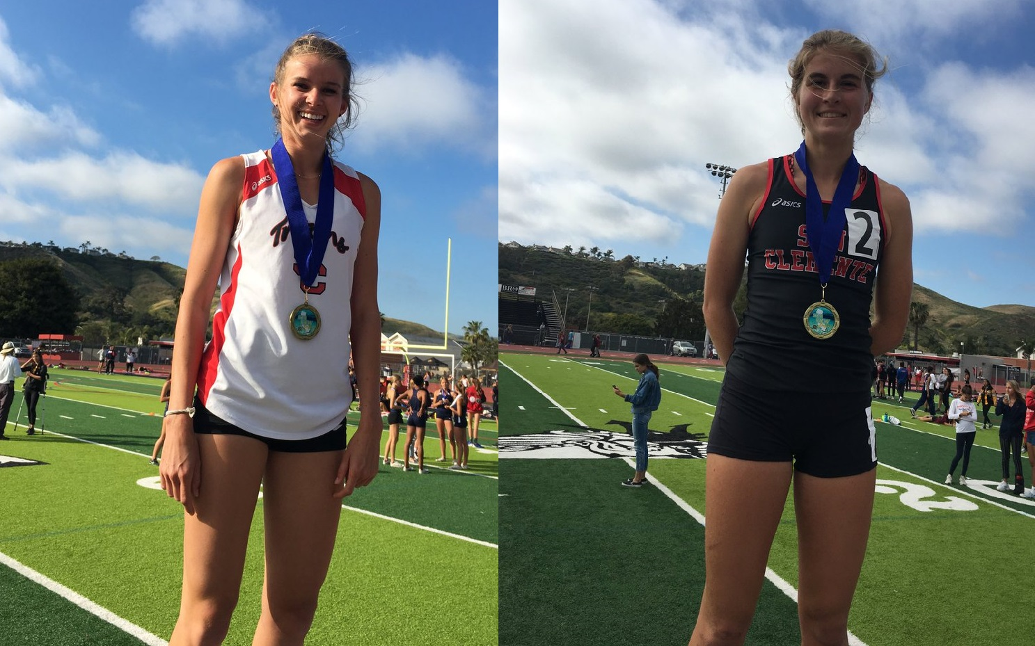 Emilie Bennett (left) and Hana Catsimanes (right) won South Coast League individual titles on April 26. Photo: Courtesy