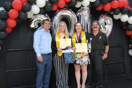 From left to right, Chris McCormick of the SC Historical Society; SCHS seniors Claire Hooper and Peyton Gadbury; Larry Culbertson, President, SC Historical Society are pictured at San Clemente High School's Scholarship presentation ceremony on May 23. Photo: Courtesy of the San Clemente Historical Society
