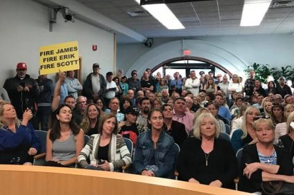 Nearly 200 residents arrive to a spontaneous town hall meeting at San Clemente's city council chambers Tuesday, May 7, to voice concern about homelessness. Photo: Courtesy of Councilwoman Laura Ferguson