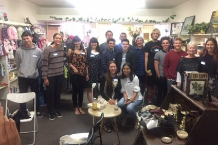 President of Coral Thrift Shop Patricia Serrano joins some of the 54 scholarship recipients and local graduates on Thursday, May 30 at the thrift shop's annual meet-and-greet in San Clemente. Photo Courtesy of Coral Thrift Shop