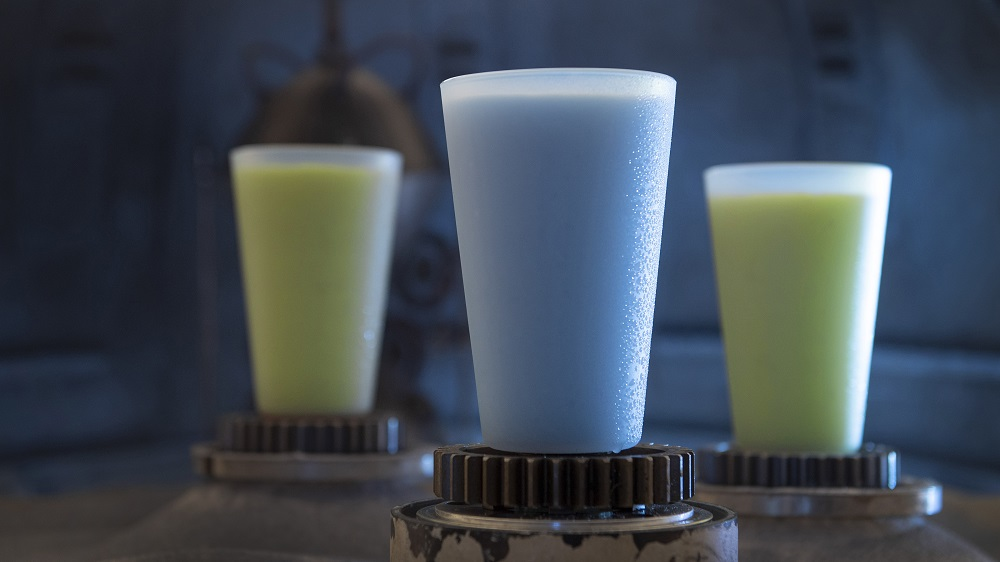 Guests will discover innovative and creative beverages from around the galaxy at Star Wars: Galaxy's Edge at Disneyland Park in Anaheim, California and at Disney's Hollywood Studios in Lake Buena Vista, Florida. Blue Milk and Green Milk can be found at the Milk Stand. (David Roark/Disney Parks)