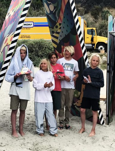 Zach Perry (far left) took the win in the 14-and-under division at the annual Cosmic Creek Surf Festival at Salt Creek. Photo: Jake Howard