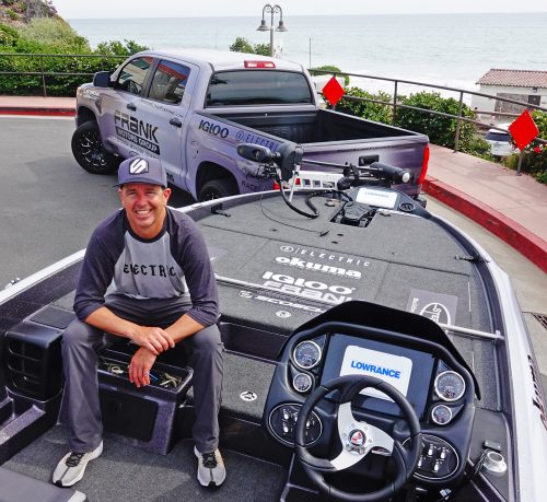 Todd Kline with two of the essential tools of his pro fishing career, a Toyota Tundra and a 20-foot Triton bass boat. Photo: Fred Swegles; Todd Kline and his son, Dylan, appear on the June cover of California Sportsman Magazine. Photo: Fred Swegles