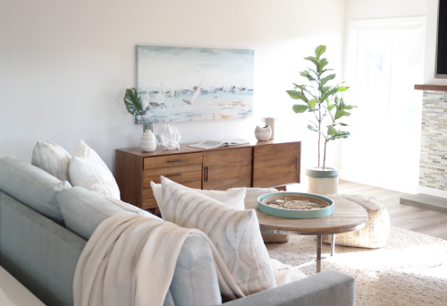 Nicole Zoë Designs finished living room inspired by a beach cottage.