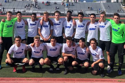 The Orange County Surf Soccer Club boys under-19 team clinched the ECNL Southwest Conference championship and will compete at the ENPL National Playoff on June 28 in Rockford, Illinois. Photo: Courtesy of Suzanne Kowarsch