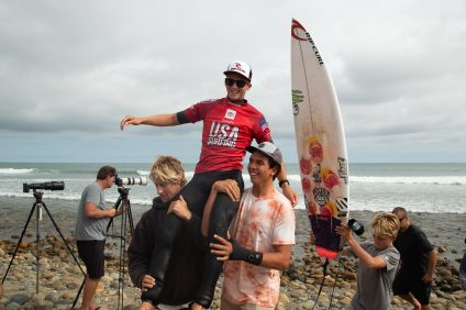 Crosby Colapinto put on one of the most dominating performances in the history of the USA Surfing Championships en route to winning the coveted Governor's Cup. Credit: Kurt Steinmetz