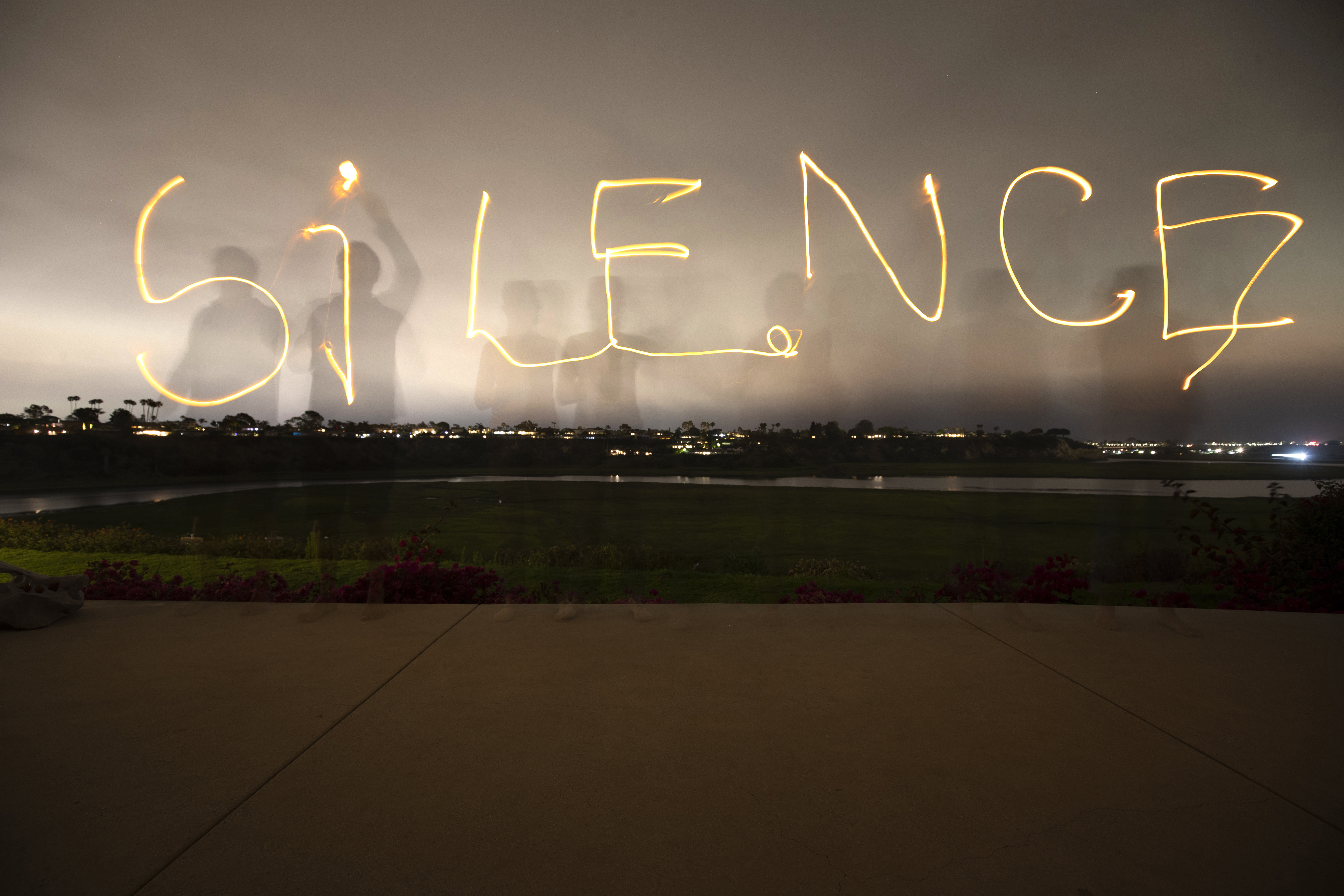 """ArtEvent: The silence image is a reference to the community moving installation portion of """"Tipping Point: Are We Creating a Silence?""""  Photo: Brett Hillyard"""